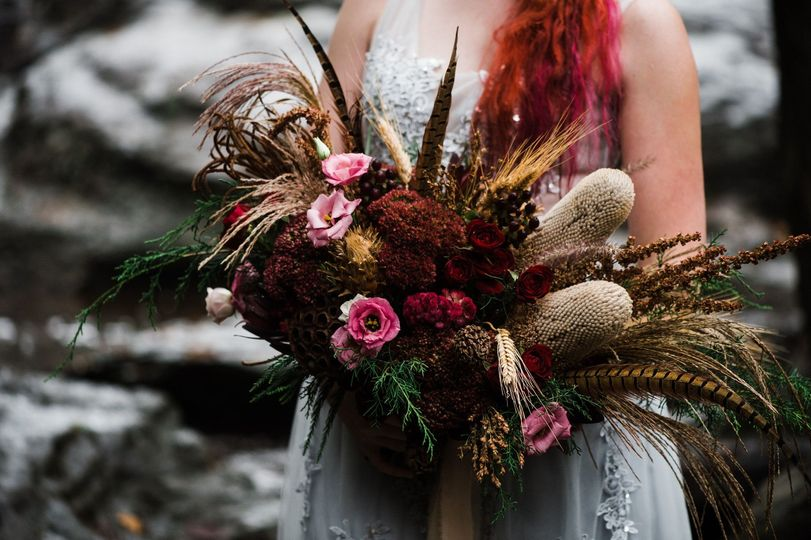 Bohemian bouquet with feathers