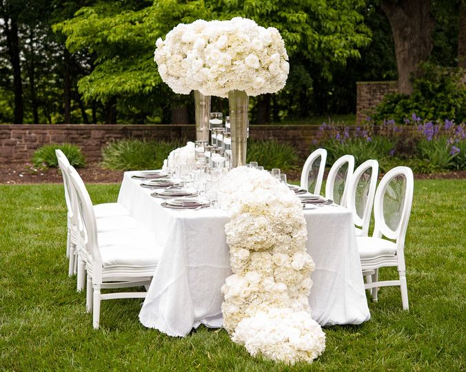 Table setup with elegant centerpiece