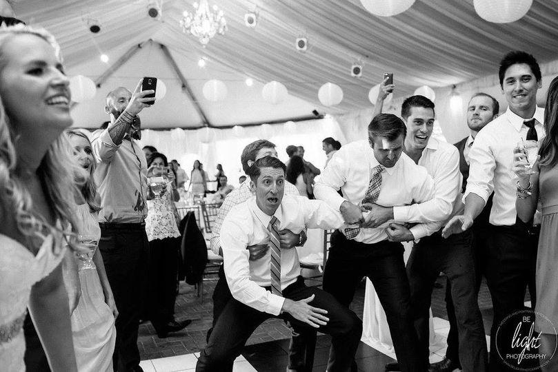 The groomsmen having fun