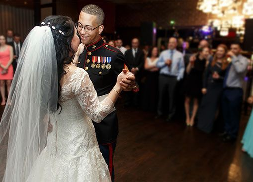 Beautiful wedding with several military guests in attendance