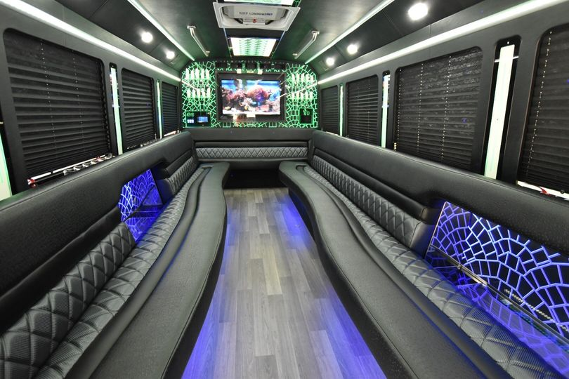 Green and black interior