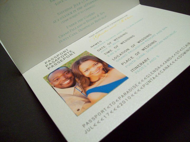 Passport invitation: ceremony information with photo of couple printed on photo paper and attached...