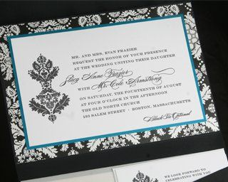 5x7 pocket book with pattern and metallic backing on ceremony card, directions and RSVP inserts.