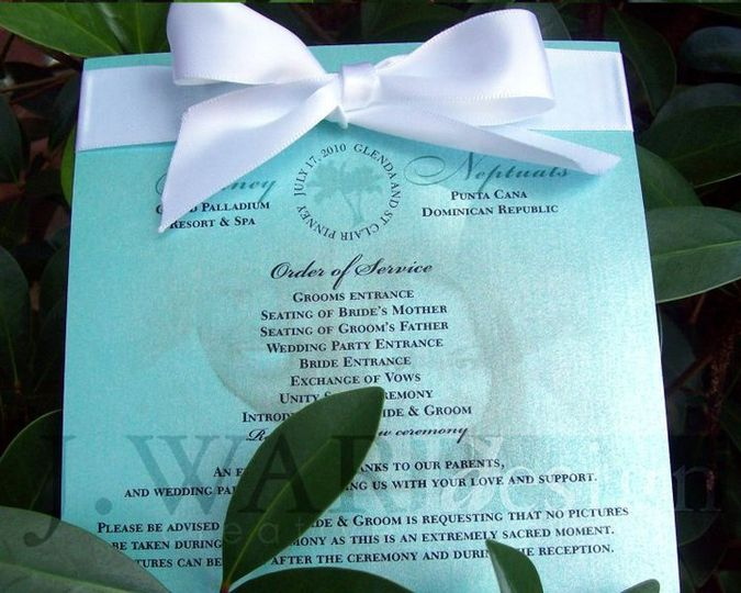 Destination wedding program, designed to resemble Tiffany Jewelry box.