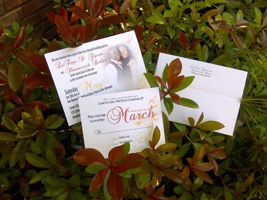 5x7 ceremony card with RSVP post card. Couple's photo and a crystal embellishment complete the...