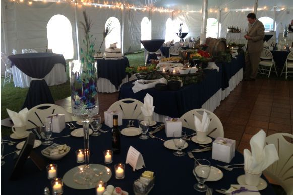 Table setup with buffet