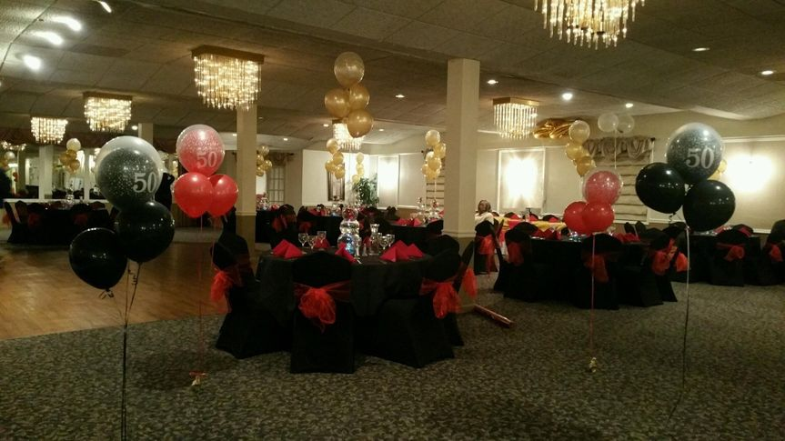Black and red themed Reception area