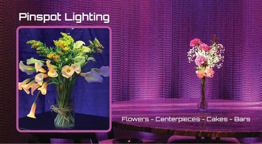 Pinspots for Centerpieces, Cakes, Bars and Ceremonies