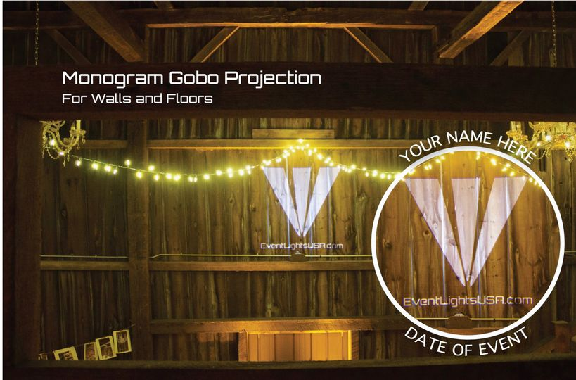 Monogram Gobo projection of names, dates, patterns