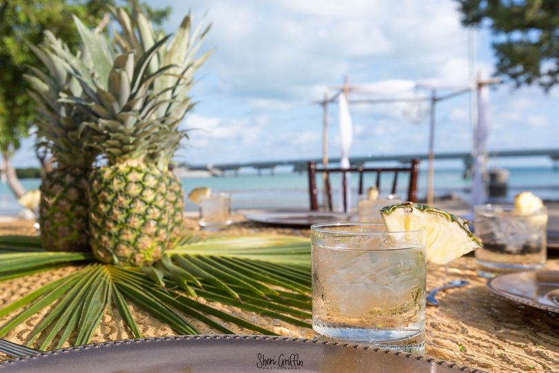 Pineapples on beach