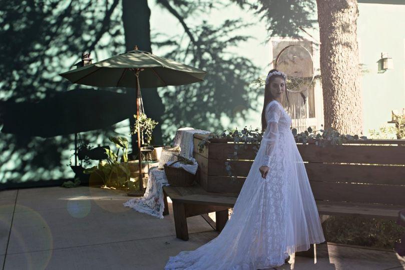 Bride in Courtyard