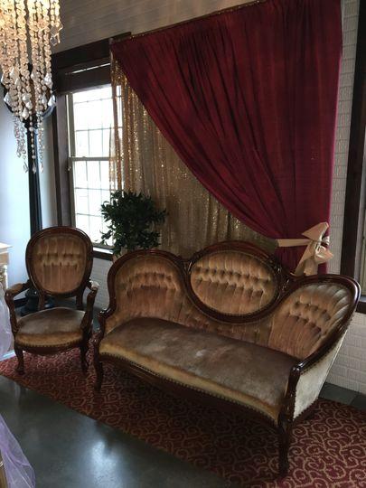 Tan victorian settee & chair