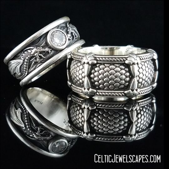 Draco the Dragon with 1/2 Carat Diamond in Antique 14KT White Gold (top) and Relic of the Dragon...