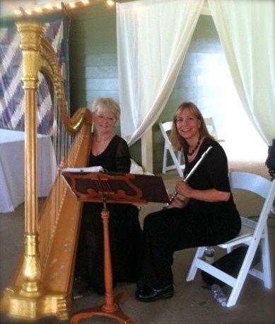 Harp and flute provide beautiful music in the garden or at the pavilion at ash lawn weddings