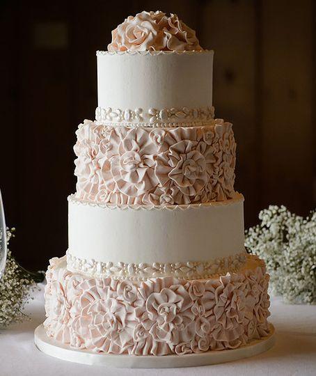 Textured peach cake