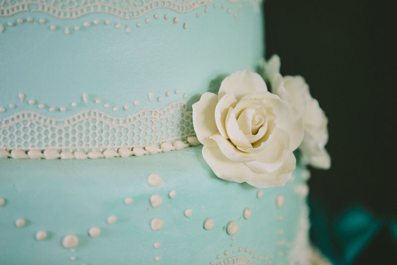 Detail of our blue buttercream cake.