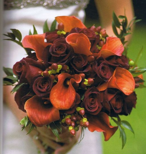 Deep red and brown roses