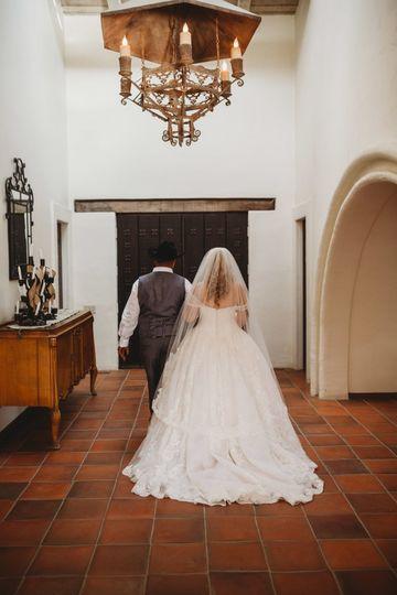 The newlyweds walk back