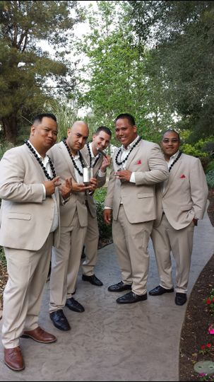 Here comes trouble.  :)  These groomsmen were ready to party before anyone even walked down the...