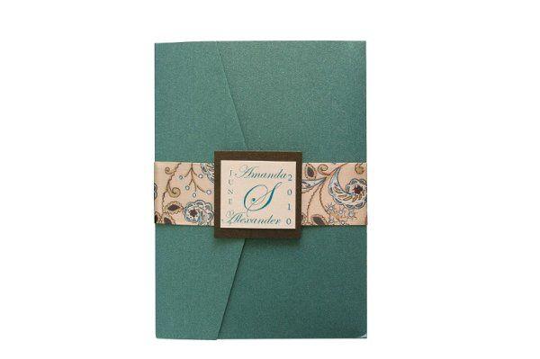 Tmx 1228846077522 5x7Azalea EmeraldwithPaisleyRibbon Freeport wedding invitation
