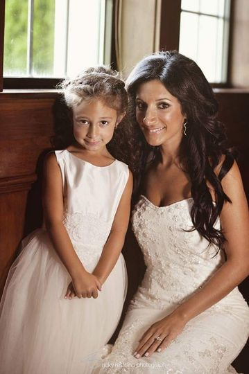 Bride and child
