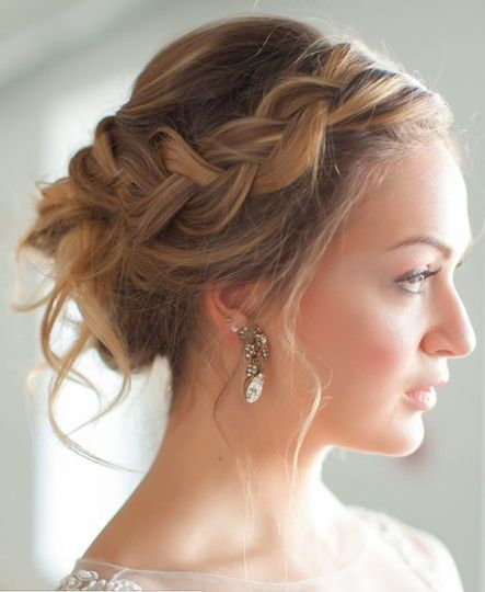 Updo with side braids