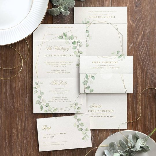 Eucalyptus accent wedding invitations