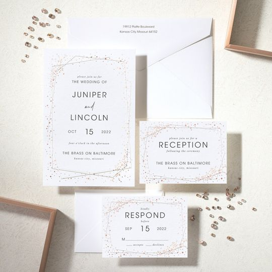 Speckled geometric invites