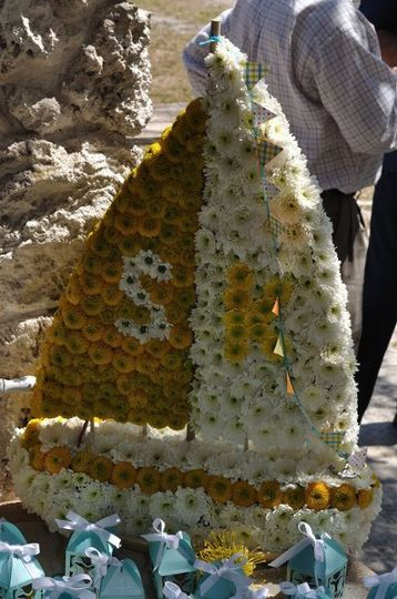Sailboat made out of flowers.