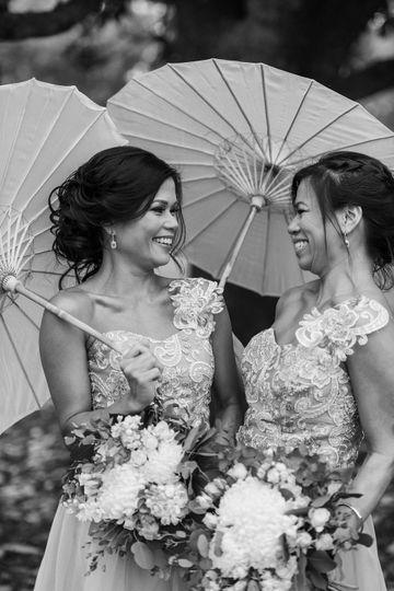 Bridesmaids holding umbrellas
