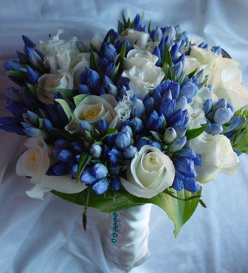 bridal bouquet white rose blue tulips