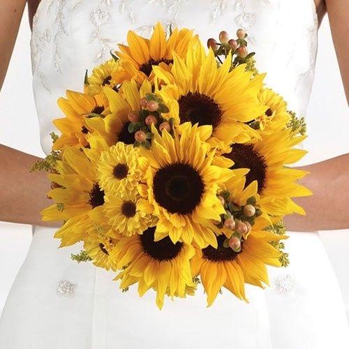 orange sunflower wedding bouquet 2