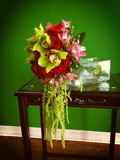 bridal bouquet green orchid and roses