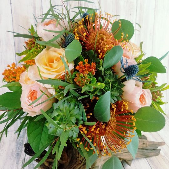 bb1425 organic peach and blue hand tied bouquet 51 42687