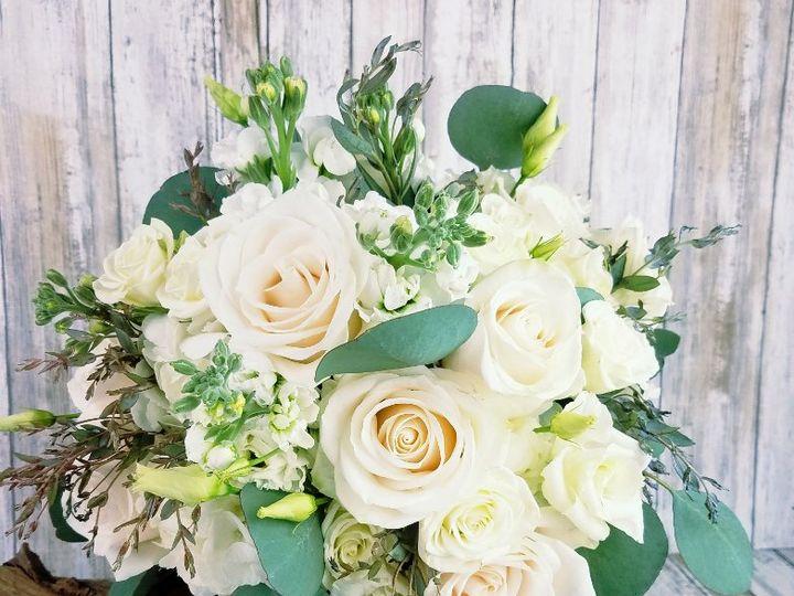 Tmx Bb1413 Sophisticated White Rose Lisianthus And Eucalyptus Brides Bouquet 51 42687 Oregon City, OR wedding florist