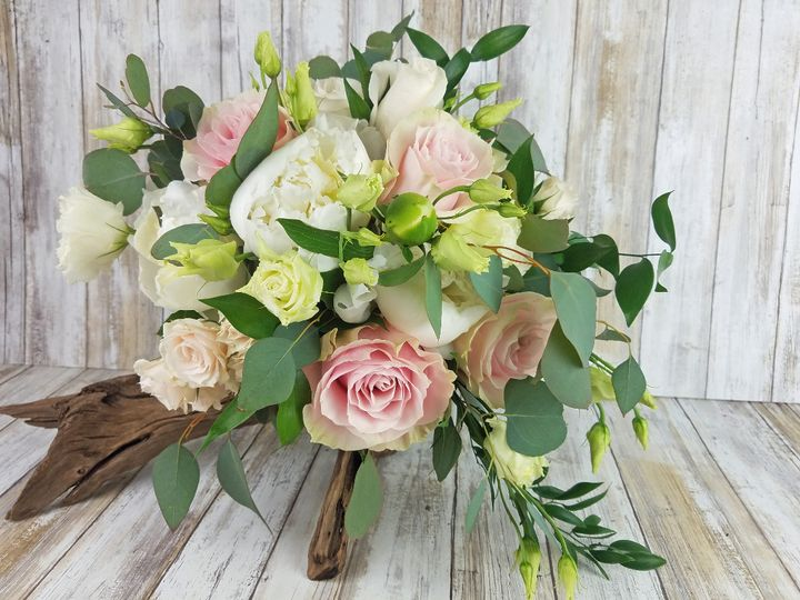 Tmx Bb1417 Loose Greenery Peony And Pink Rose Brides Bouquet 51 42687 Oregon City, OR wedding florist