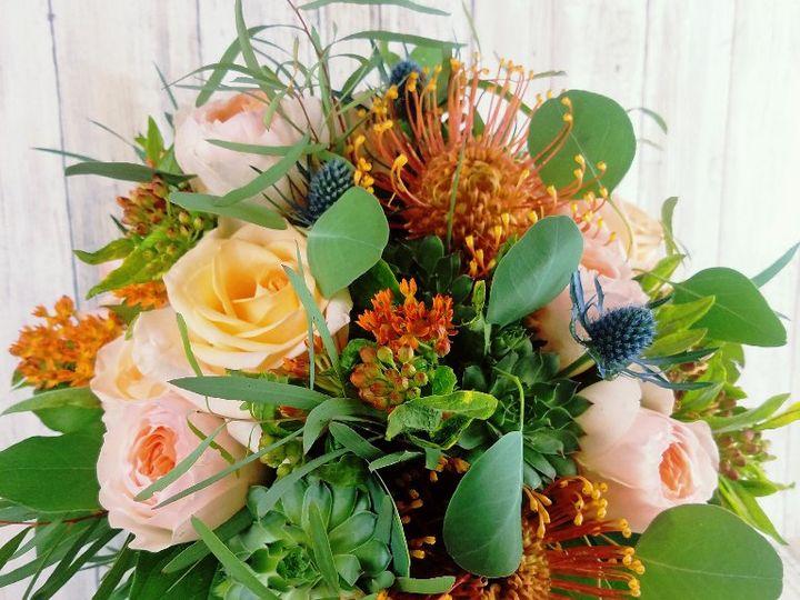 Tmx Bb1425 Organic Peach And Blue Hand Tied Bouquet 51 42687 Oregon City, OR wedding florist