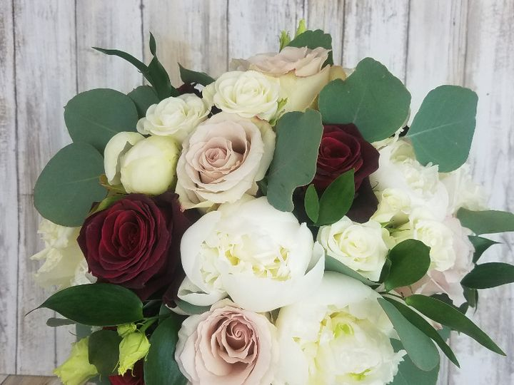 Tmx Bb1434 Brides White Peony Red And Blush Roses Bouquet 51 42687 Oregon City, OR wedding florist