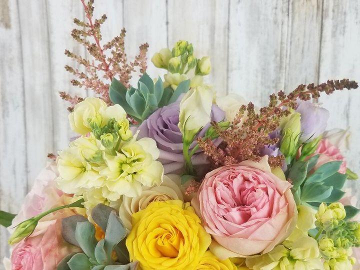 Tmx Bb1440 Spring Pink Yellow And Lavender Brides Bouquet 51 42687 Oregon City, OR wedding florist