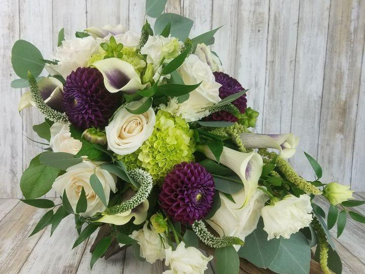 Tmx Bb1444 Eggplant Dahlia And White Rose Cascading Brides Bouquet 51 42687 Oregon City, OR wedding florist