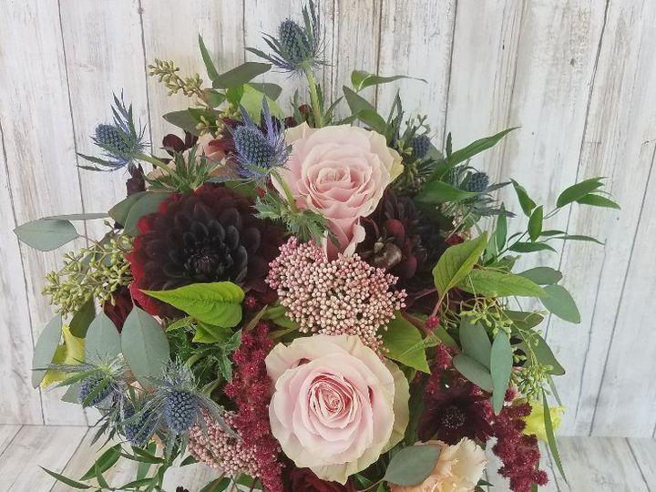 Tmx Bb1458 Wine Dahlia And Pink Rose Cascading Brides Bouquet Copy 51 42687 Oregon City, OR wedding florist