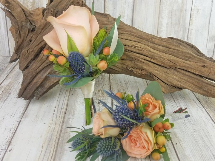 Tmx Bf0765 Peach Rose And Thistle Corsage And Boutonniere Copy 51 42687 Oregon City, OR wedding florist