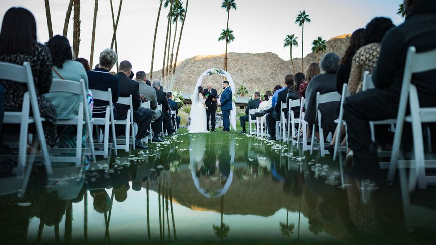 Reflection shot down the aisle