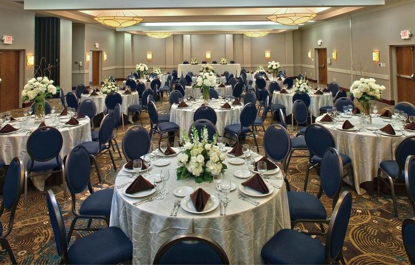 Blue and white themed reception