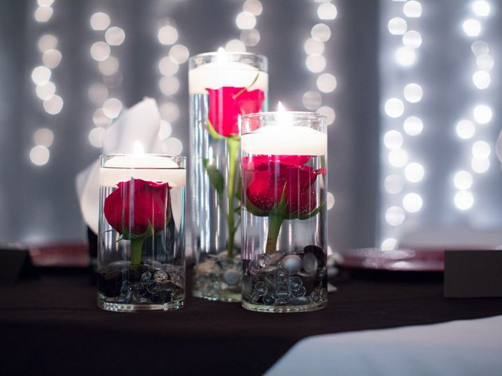 Flowers with floating candles