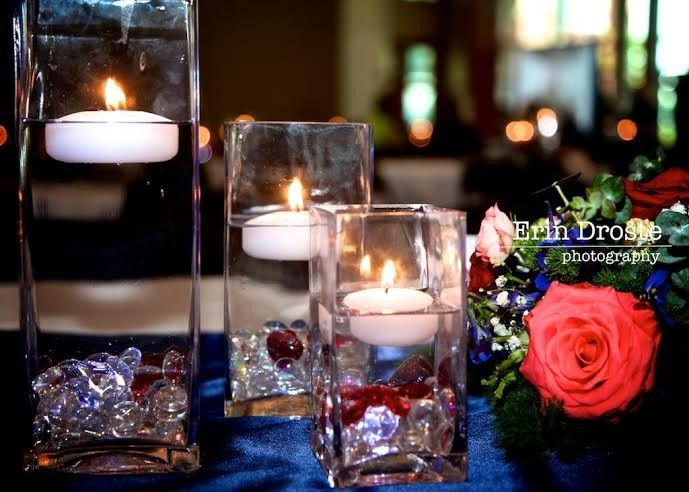 Floating Candles and Flower Arrangement