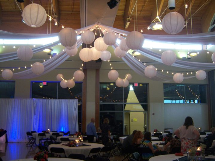 Ceiling Swag with globe lights and paper lanterns.