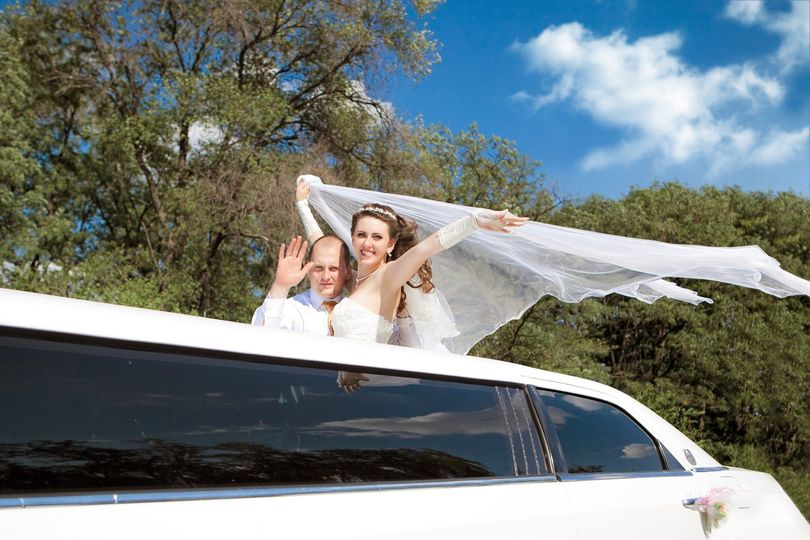 Happy couple in limo