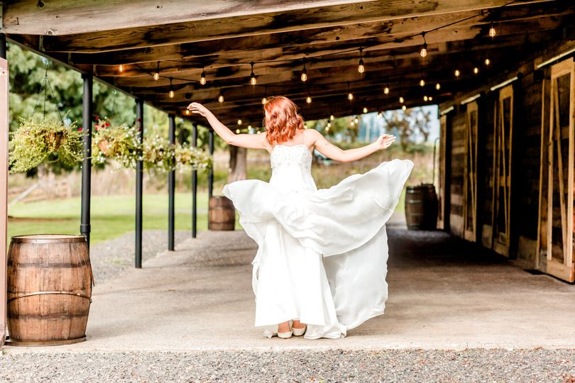 Bride under the covered patio