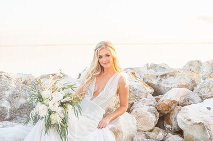 Bride on rocks